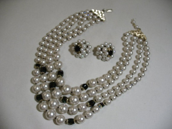 Vintage Demi-Parure, Faux-Pearl Multi-Strand Necklace with Faceted Beads