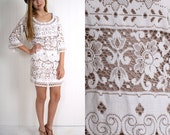 Vintage 60s boho COTTON two-tone LACE bell sleeve MINI dress S M
