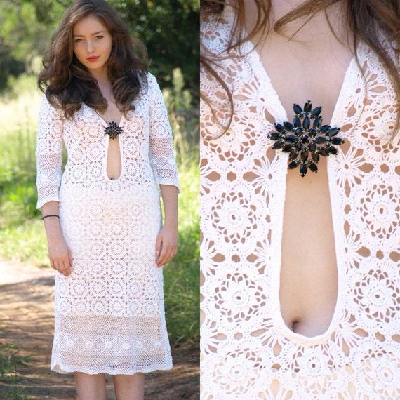 Vintage 60s Jane Birkin cotton crochet lace midi dress S M