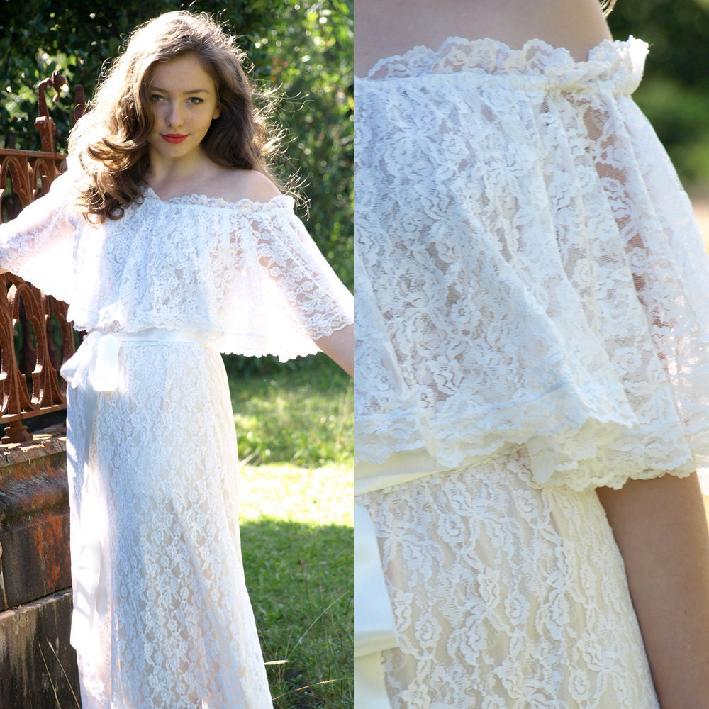 Vintage 70s bohemian lace scalloped off the shoulder wedding for Off the shoulder bohemian wedding dress