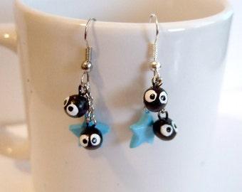 Soot sprite (kurosuke) dangle earrings from my neighbor totoro / spirited away  with blue star charm