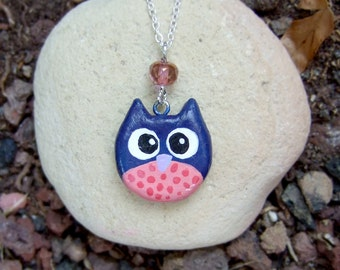 Blue and pink clay owl charm necklace, with pink crystal, and a heart in the back