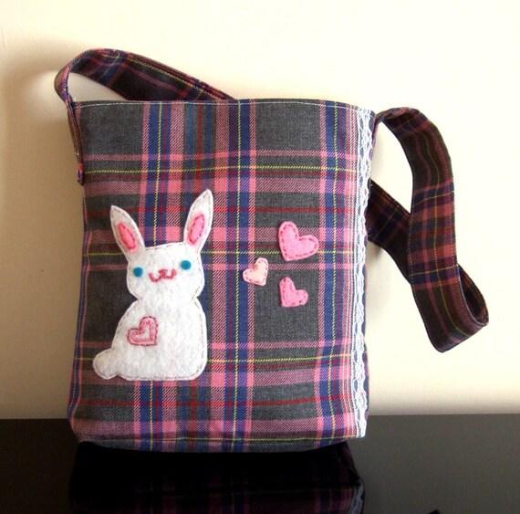 Kawaii cute plaid punny bag