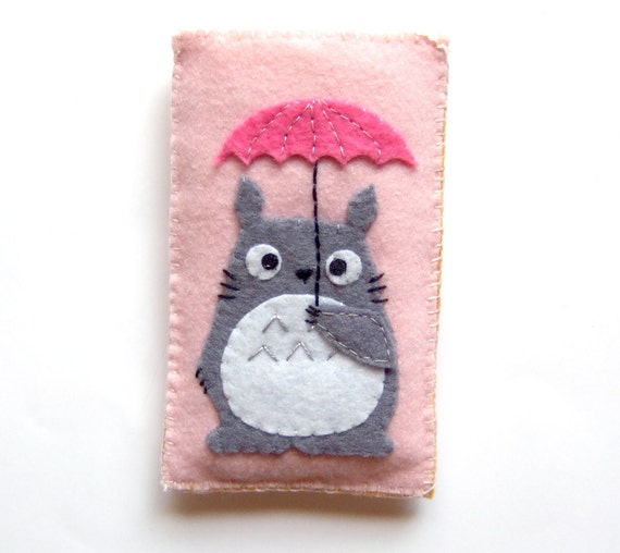 very cute pink totoro with umbrella iphone / itouch / ipod  case - cozy - pouch