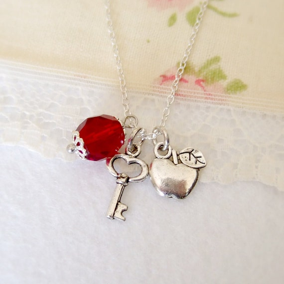 Snow white necklace, fairy tale necklace, Key charm, apple pendant, blood red crystal, silver plated necklace