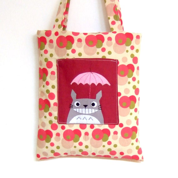 Totoro with umbrella bag with funky red polka dot fabric