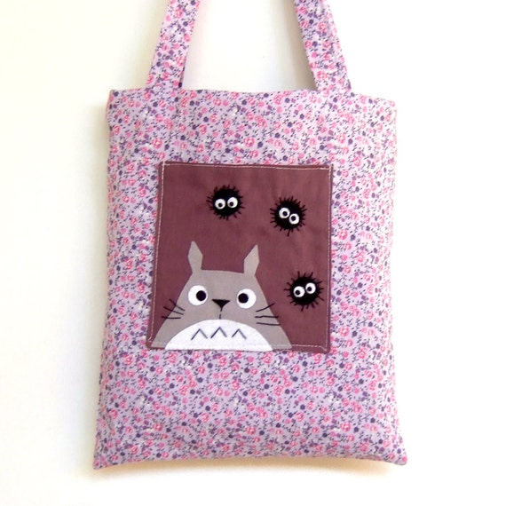 Happy totoro and soot purple bag, with pocket