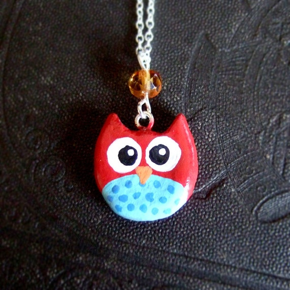 Red and light blue clay owl charm necklace, with crystal, and a heart in the back