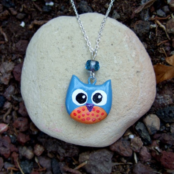 Pink and light blue clay owl charm necklace, with crystal, and a heart in the back