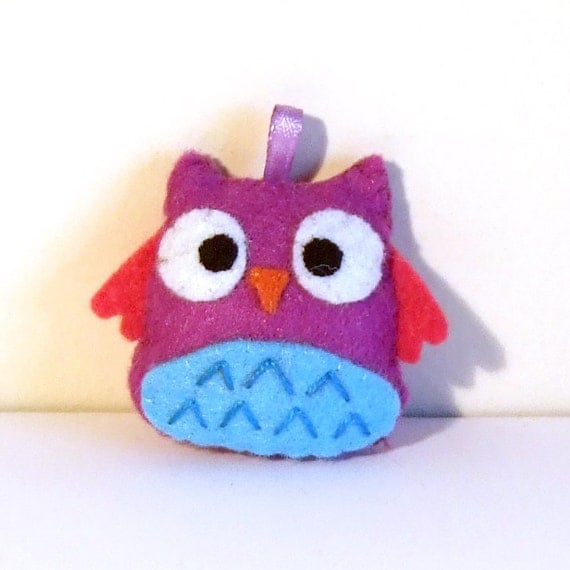 pink/ violet and blue happy owl keychain plushie