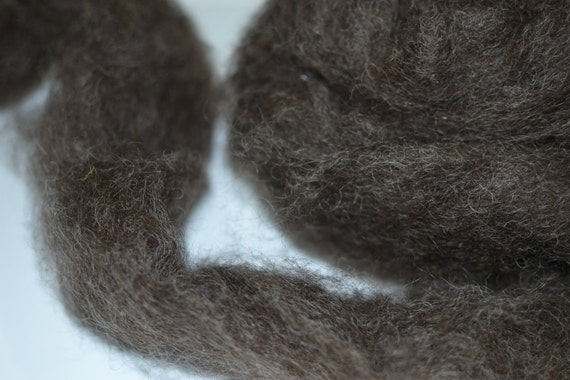 Wensleydale Roving Spinning and Felting Fiber Black Silver 4oz