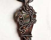 OOAK autumn multi colour fused glass wire wrapped pendant
