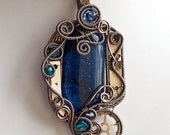 OOAK midnight blue steampunk fused glass wire wrapped pendant