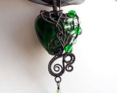 OOAK Green and black gothic heart wire wrapped pendant