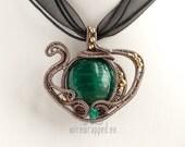 OOAK green teapot wire wrapped pendant