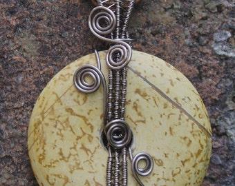Jasper donut wire wrapped pendant