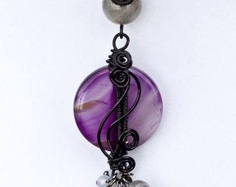 Purple agate and labradorite pendant