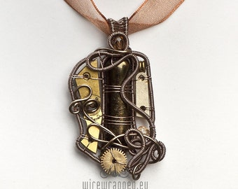 OOAK Steampunk fused dichroic glass wire wrapped pendant 2