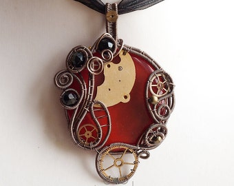 OOAK Red round steampunk fused glass wire wrapped pendant