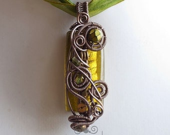 OOAK Olive green steampunk wire wrapped glass pendant