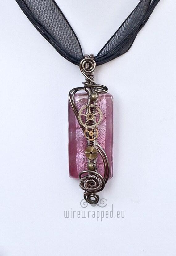 Rectangle steampunk (steampink) pendant