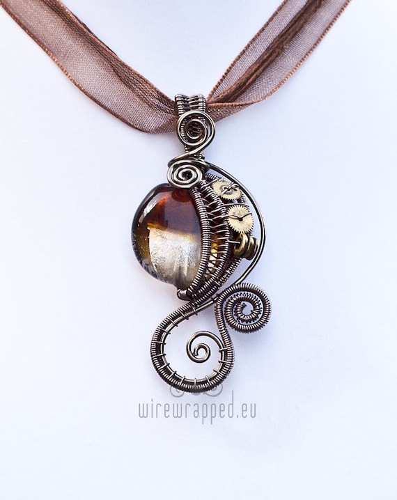 Silver and amber brown steampunk wire wrapped pendant