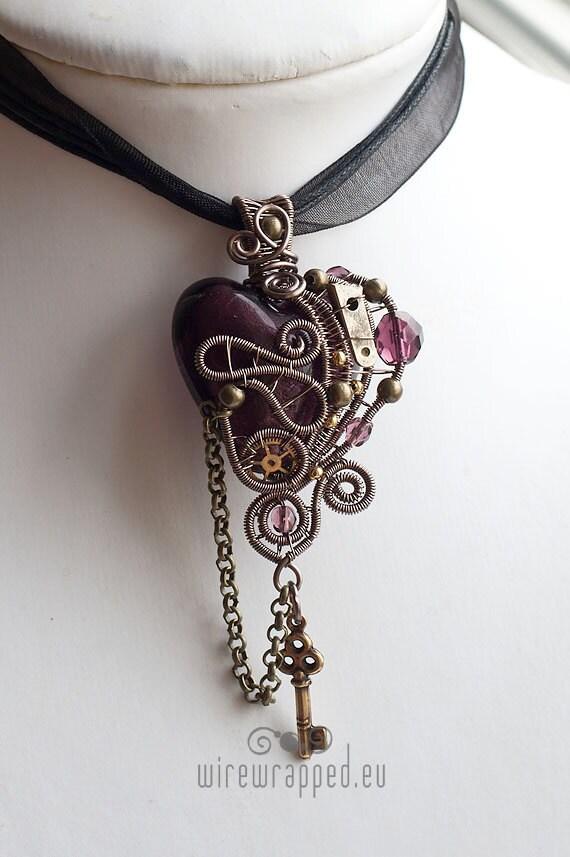 OOAK Purple steampunk heat pendant with key