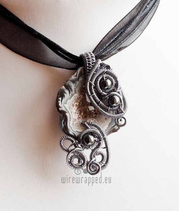 OOAK Wire wrapped agate geode and hematite pendant