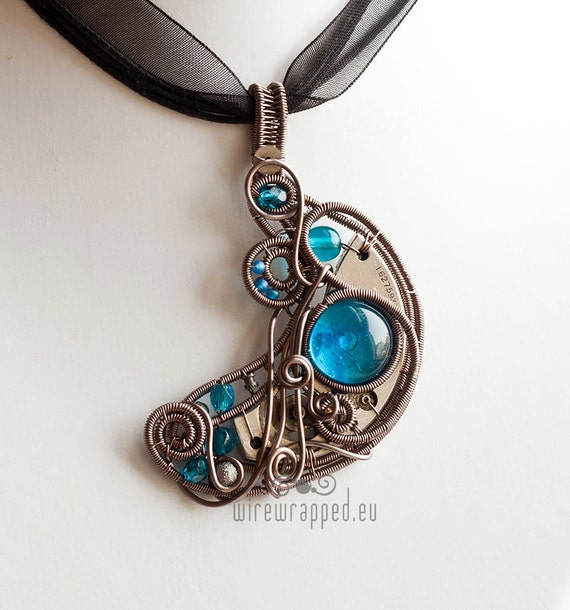 OOAK Steampunk crescent moon wire wrapped pendant