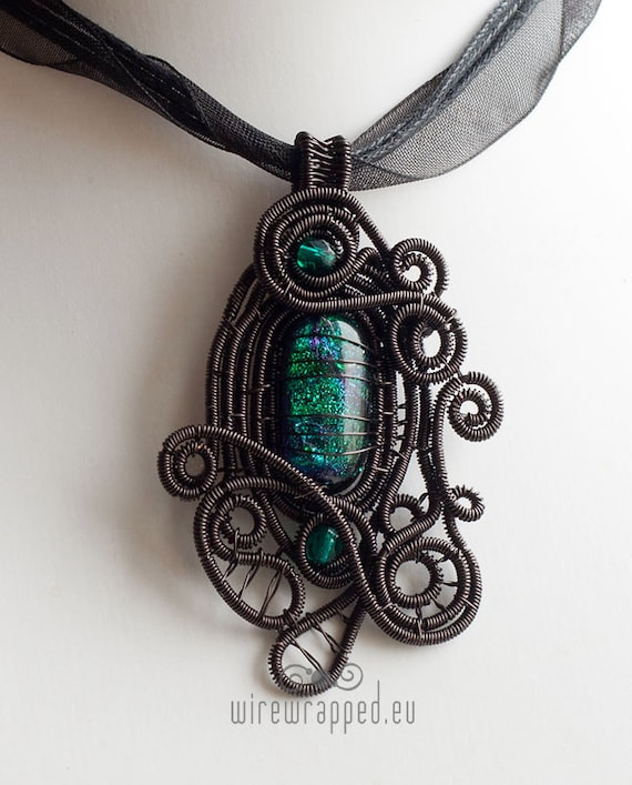 OOAK Goth emerald green dichroic glass wire wrapped pendant