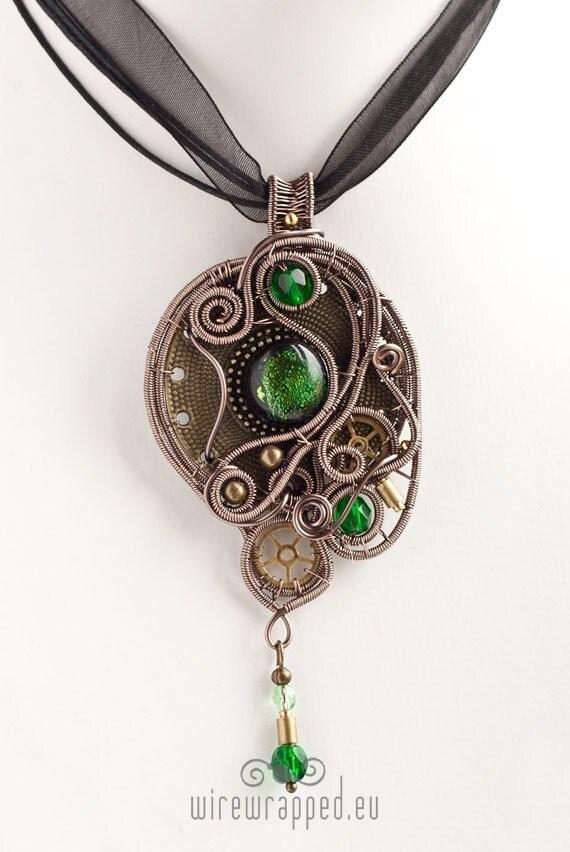 OOAK Steampunk emerald green eye wire wrapped pendant