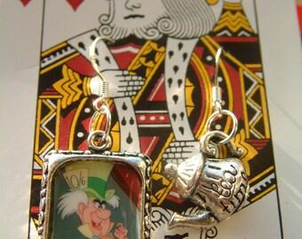 alice in wonderland tea party mad hatter earrings