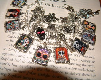 DAY of the DEAD Mexican Themed Charm Bracelet Fully Loaded! Dia de los Muertos