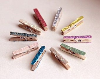 Mini clothes pins - GLITTERED PASTELS