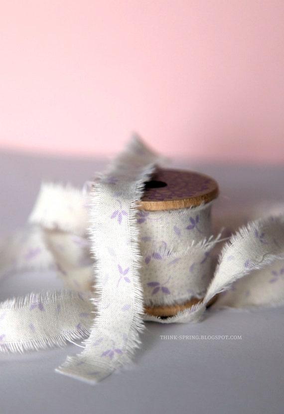 Frayed fabric ribbon (adhesive)  -  LILAC