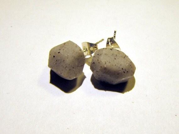 Gray stone gem-cut polymer clay stud earrings, geo earrings