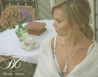 Vintage White Key To Paris La Tour Eiffel Necklace with Swarovski Crystal OOAK