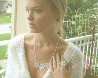 Floral Swarovski Crystal Necklace and Earrings Set - wedding jewelry - bridal jewelry
