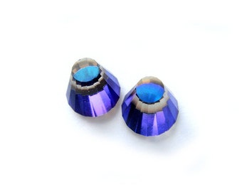 Rare Unique 3D Blue Purple Vintage Crystal Earrings