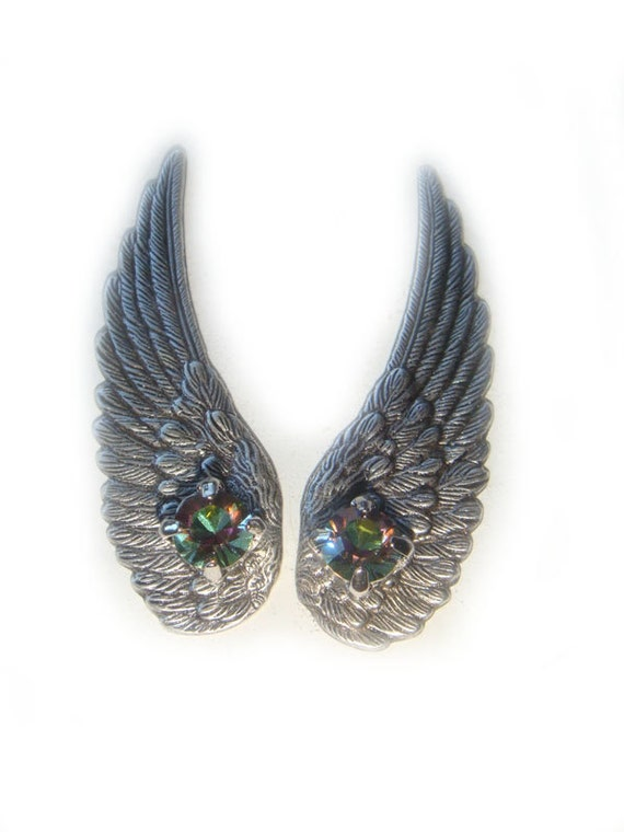 Last Pair Silver Angel Wing Earrings with Rainbow Vintage Swarovski Crystals Pierced or Clip On Customized