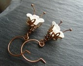 Frosting - Copper and Acrylic Flower Earrings