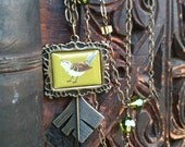 Long Green & Brown Flapper Necklace - Bird on a Wire, Moss n Chocolate, Crystal, Antique Brass