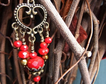 Gold Pearl, Heart and Ruby Red Glass Dangle Drop Earrings, Vintage Style, Patina, Valentines Day Gift, Pierced, Lever Back Hook
