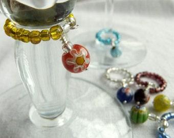 6 Drink Tags or Wine Glass Charms - Millefiori Bead, floral, handmade, rainbow, flower
