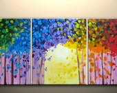 forest No.2, four seasons, large original painting, abstract, textured impasto,48x20inch,ready to hang, ON SALE