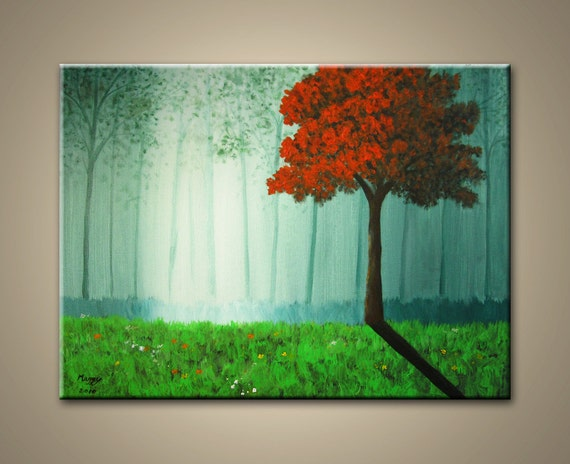 "morning red tree - 24""x18"" original modern painting, ready to hang"