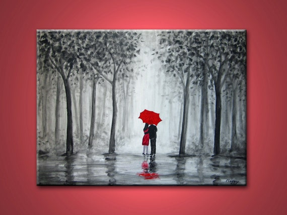kissing in the rain - 24x18 inch, original modern painting, on stretched canvas, ready to hang,wedding gift,on sale