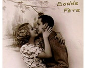 Vintage French Romantic Postcard (Unused) - Couple Embracing