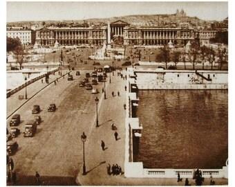 French Vintage Unused Postcard  - Place de La Concorde, Paris, France