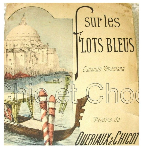 Vintage French Song / Sheet Music  - On the Blue Waves